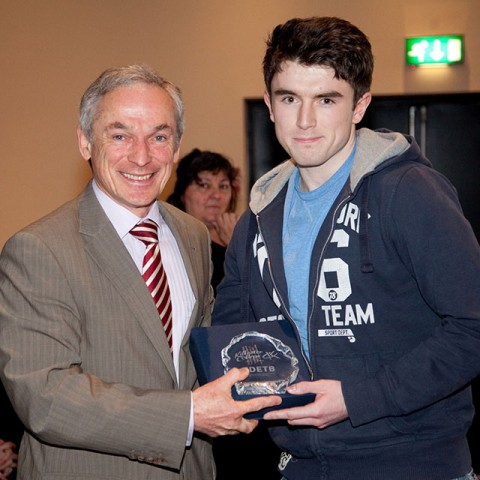 Chris Devit from Science who is now in UCD Science pictured here with Minister Bruton