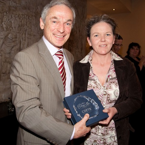 Brenda Fogarty from Animal Science who is now in UCD Vet Nursing pictured here with Minister Bruton