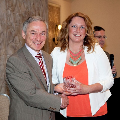 Cheryl Monaghan from Animal Science now working for Dogs Trust Ireland pictured here with Minister Bruton
