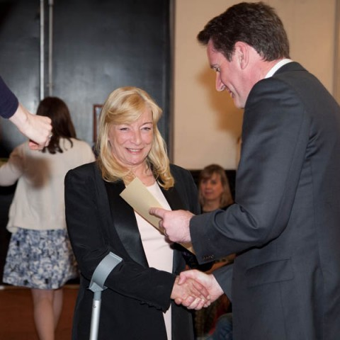 Minister Aodhán Ó Ríordáin and Ms.Barbara Clancy who is going on to study Pharmacy Technician
