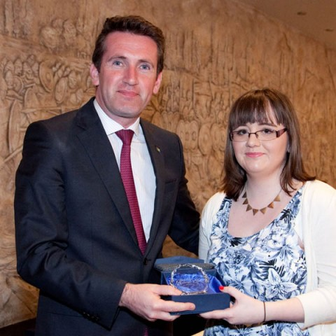 Minister Aodhán Ó Ríordáin and Laura Bryan who was awarded full Distinctions in Pharmacy Assistant.