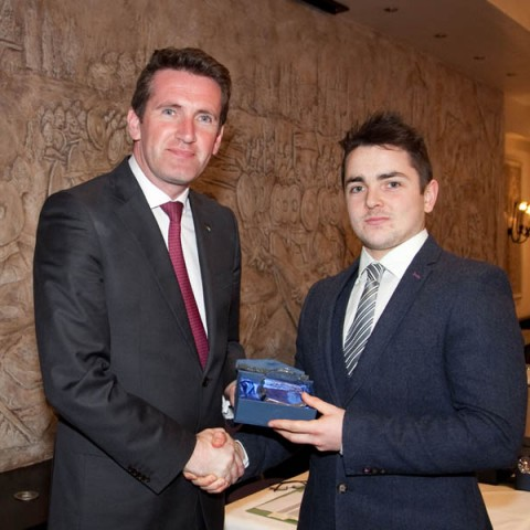 Minister Aodhán Ó Ríordáin and Mr.Daragh Henry from Pre University Science now studying Sports Science in DCU