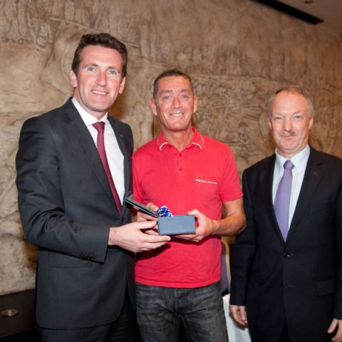 Cllr Sean Haughey, Minister Aodhán Ó Ríordáin and Mr Colm Woods from Security Systems.  Colm received a Community Award and is also going on to study  Level  6.