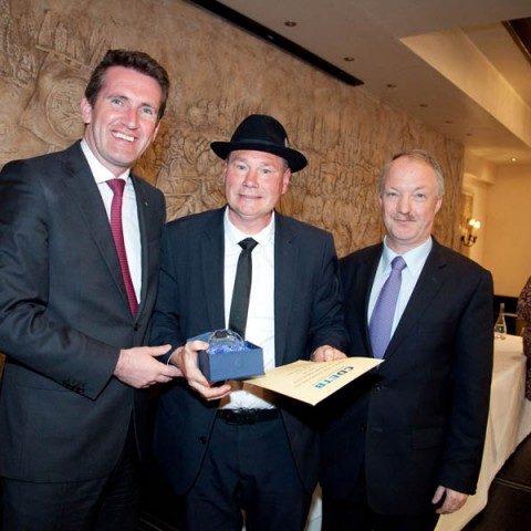 Mr Joe McCluskey from Business with Cllr Sean Haughey and Minister Aodhán Ó Ríordáin