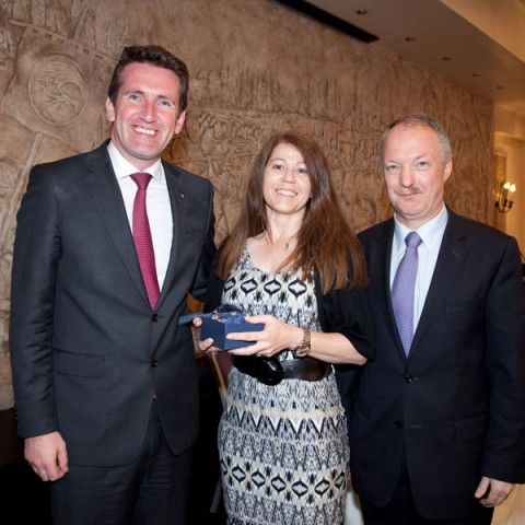Ms Samantha Fogarty from Animal Science, Cllr Sean Haughey and Minister Aodhán Ó Ríordáin