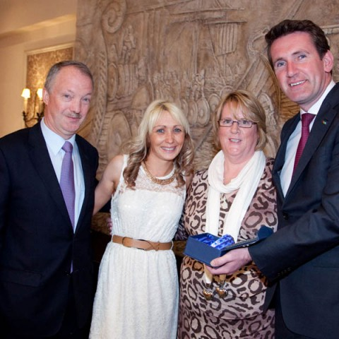 Cllr. Sean Haughey, Emma Dennison, Mary Flynn & Minister Aodhán Ó Ríordáin. Emma graduated from Disability Support Worker Prog.